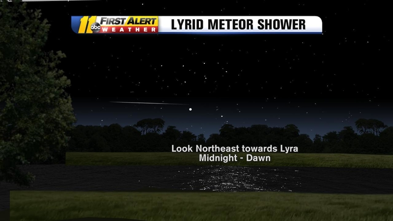 Lyrid meteor shower peaks overnight Sunday and Monday
