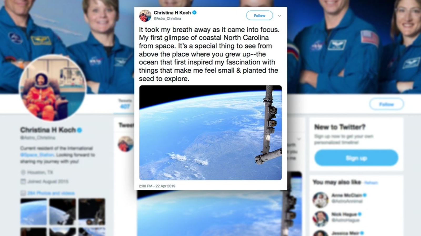 North Carolina native Christina Koch Tweets picture of Outer Banks from International Space Station