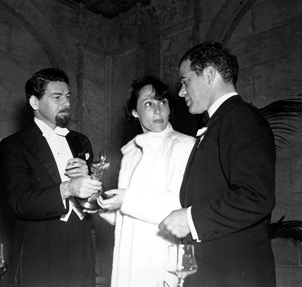 <div class='meta'><div class='origin-logo' data-origin='AP'></div><span class='caption-text' data-credit=''>Oscar winners Paul Muni, holding statuette, Louise Rainer, center, and Frank Capra are shown during the 9th annual Academy Awards in Hollywood, Ca., on March 6, 1937.</span></div>