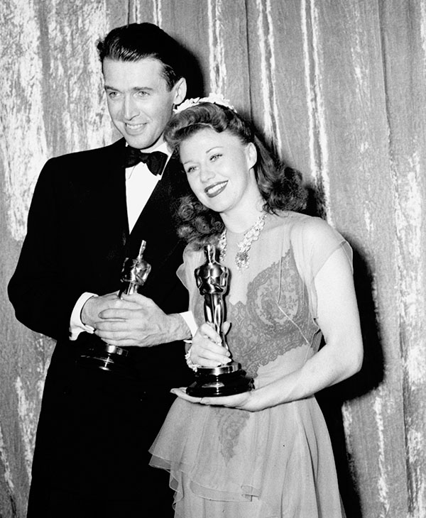 <div class='meta'><div class='origin-logo' data-origin='AP'></div><span class='caption-text' data-credit=''>Ginger Rogers and Jimmy Stewart hold the Oscars they won for best actress and best actor, respectively, at the 13th Annual Academy Awards, March 3, 1941, in Los Angeles, Calif.</span></div>