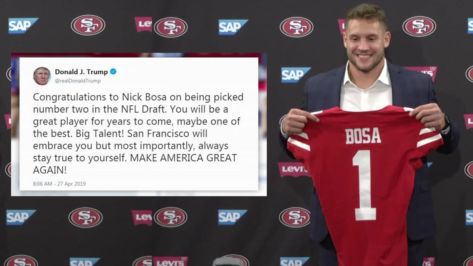f7732c96c President Trump congratulates San Francisco 49ers draft pick Nick Bosa in  MAGA tweet