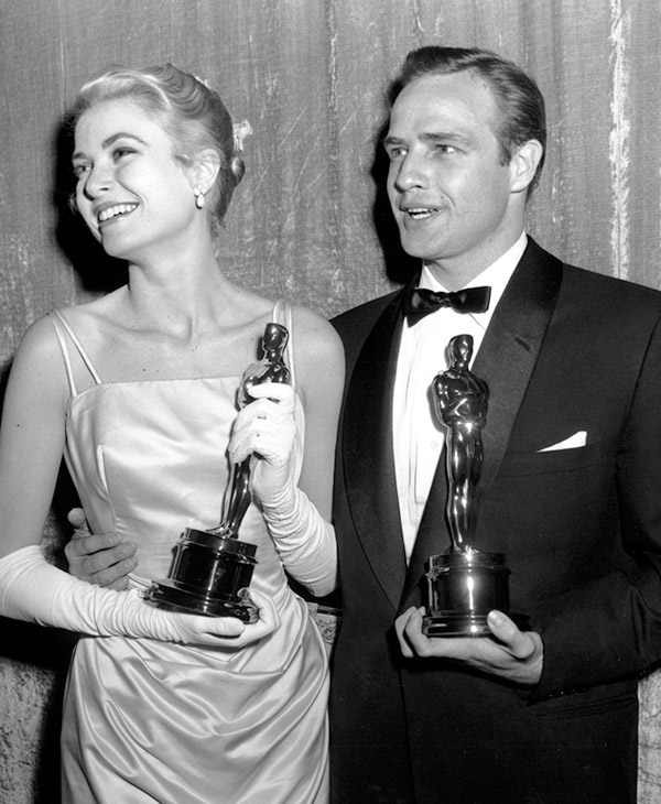 <div class='meta'><div class='origin-logo' data-origin='AP'></div><span class='caption-text' data-credit=''>Oscar winners Grace Kelly and Marlon Brando pose with their statuettes at the 1954 Academy Awards at the RKO Pantages Theatre in Hollywood, Calif., on March 30, 1955.</span></div>