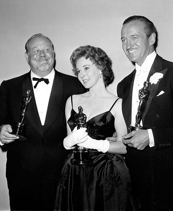 <div class='meta'><div class='origin-logo' data-origin='AP'></div><span class='caption-text' data-credit=''>Oscar winners, from left, Burl Ives, Susan Hayward, and David Niven pose backstage at the 31st Academy Awards at the Pantages Theater in Hollywood, Ca., April 6, 1959.</span></div>
