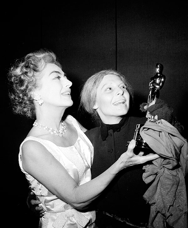 <div class='meta'><div class='origin-logo' data-origin='AP'></div><span class='caption-text' data-credit=''>Anne Bancroft, left, receives the Oscar for best actress of the year from Joan Crawford at New York's Martin Beck Theater on May 7, 1963.</span></div>