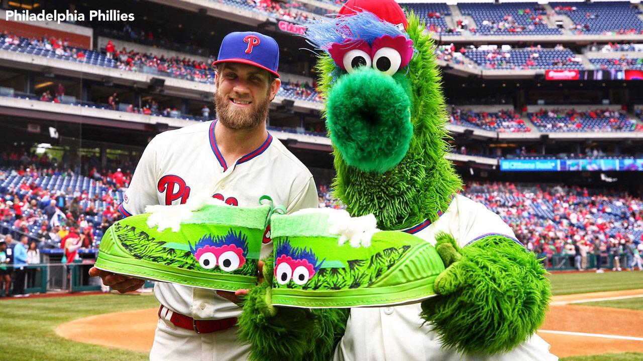 Bryce Harper surprises Phillie Phanatic with birthday present - 6abc  Philadelphia