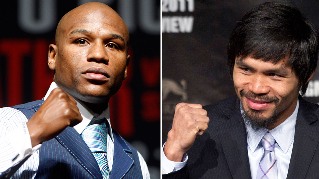 Floyd Mayweather Jr. on left, and Manny Pacquiao