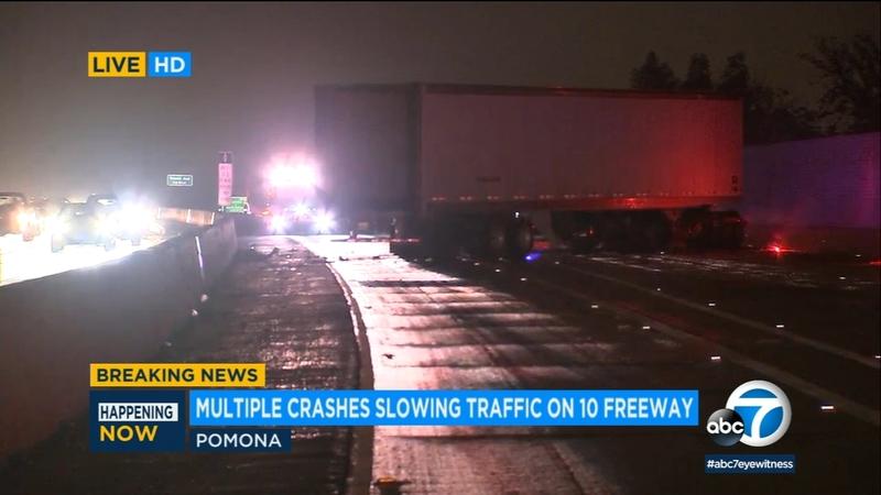 1 killed in 10 Fwy crash in Pomona, prompting shut down of multiple lanes