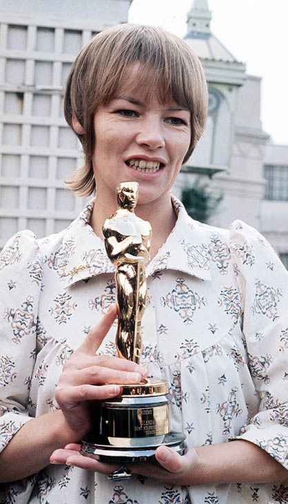 <div class='meta'><div class='origin-logo' data-origin='AP'></div><span class='caption-text' data-credit=''>British actress Glenda Jackson holds her Oscar award for Best Actress, awarded for her performance in &#34;Women in Love&#34;, in London, England, April 27, 1971.</span></div>