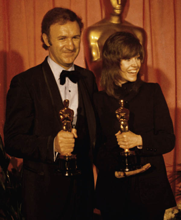 <div class='meta'><div class='origin-logo' data-origin='AP'></div><span class='caption-text' data-credit=''>Gene Hackman, best actor, and Jane Fonda, best actress, at the 1971 Academy Awards presented March 27, 1972 at the Dorothy Chandler Pavilion, Los Angeles.</span></div>