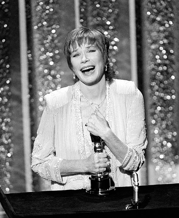 <div class='meta'><div class='origin-logo' data-origin='AP'></div><span class='caption-text' data-credit=''>Actress Shirley MacLaine accepts her Oscar at the 56th annual Academy Awards show in Los Angeles, Calif., on April 9, 1984.</span></div>