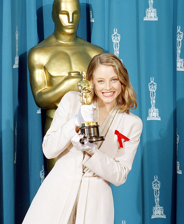 <div class='meta'><div class='origin-logo' data-origin='AP'></div><span class='caption-text' data-credit=''>Jodie Foster shows off her Oscar backstage at the 64th annual Academy Awards in Los Angeles, Ca., March 30, 1992.</span></div>