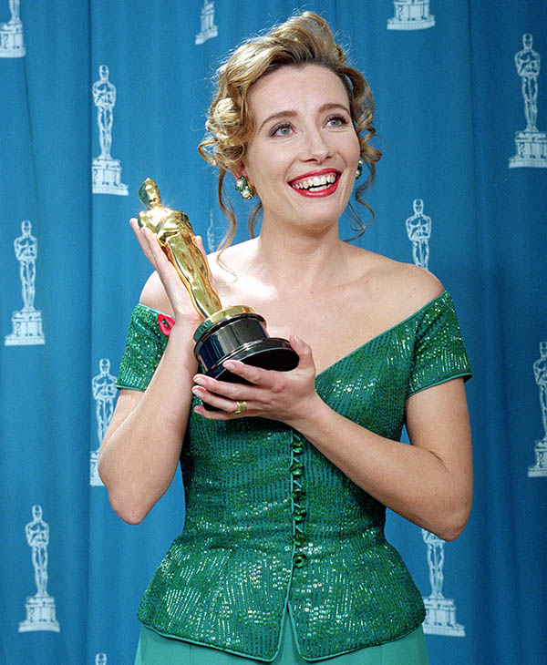 <div class='meta'><div class='origin-logo' data-origin='AP'></div><span class='caption-text' data-credit=''>British actress Emma Thompson poses with her best actress Oscar for her performance in &#34;Howard's End&#34; at the 65th annual Academy Awards in Los Angeles, Ca., Monday, March 29, 1993.</span></div>