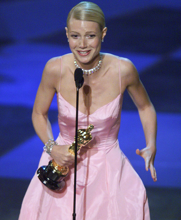 <div class='meta'><div class='origin-logo' data-origin='AP'></div><span class='caption-text' data-credit=''>Gwyneth Paltrow gestures after being awarded the Oscar for best actress for her role in &#34;Shakespeare In Love&#34; during the 71st Annual Academy Awards Sunday, March 21, 1999.</span></div>