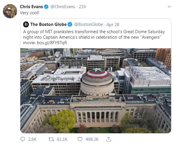 On Monday Avengers End Actor Chris Evans Tweeted His Roval