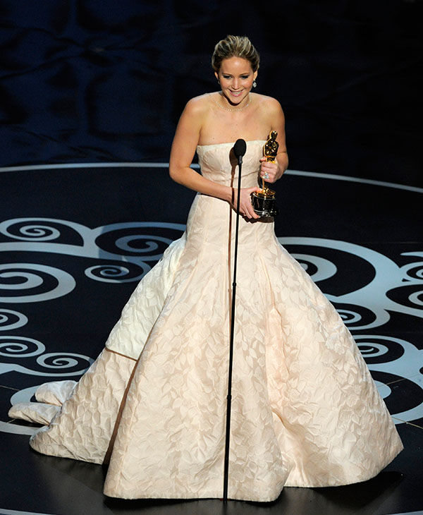<div class='meta'><div class='origin-logo' data-origin='AP'></div><span class='caption-text' data-credit=''>Jennifer Lawrence accepts the award for best actress in a leading role for &#34;Silver Linings Playbook&#34; during the Oscars at the Dolby Theatre on Sunday Feb. 24, 2013, in Los Angeles.</span></div>
