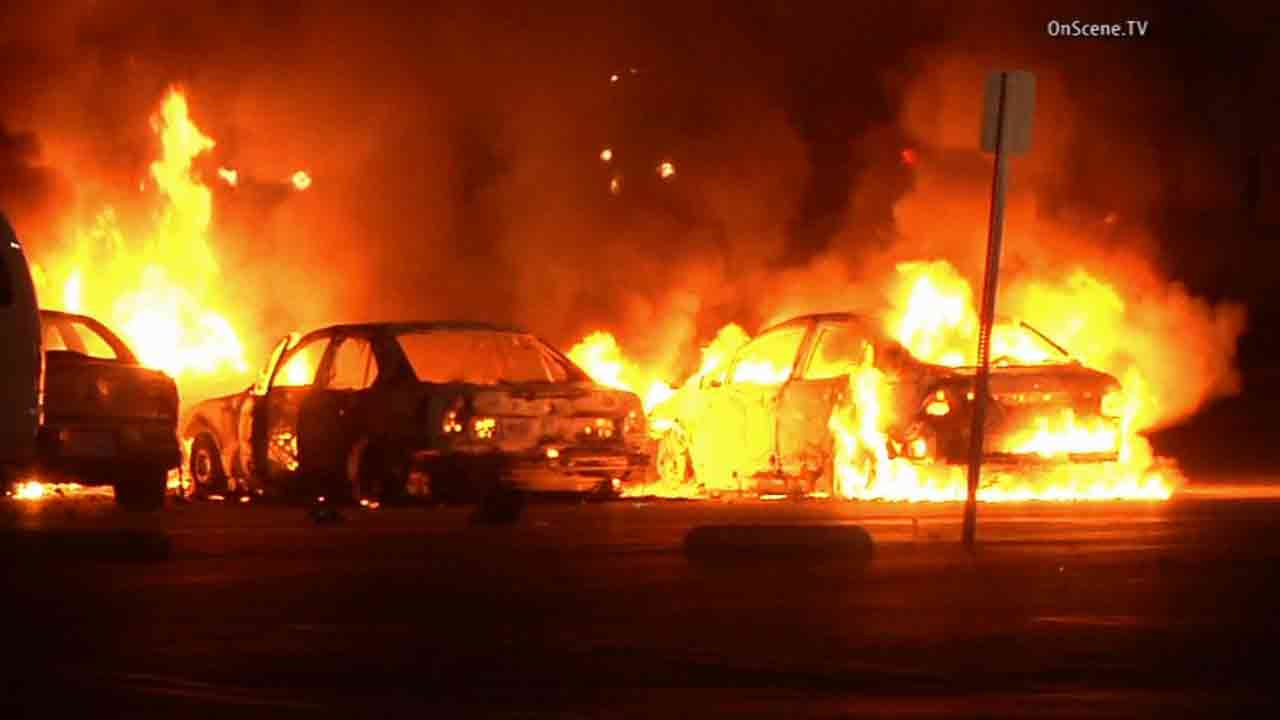 Four vehicles were set ablaze in the parking lot of the Ventura County Government Center Saturday, Feb. 21, 2015.