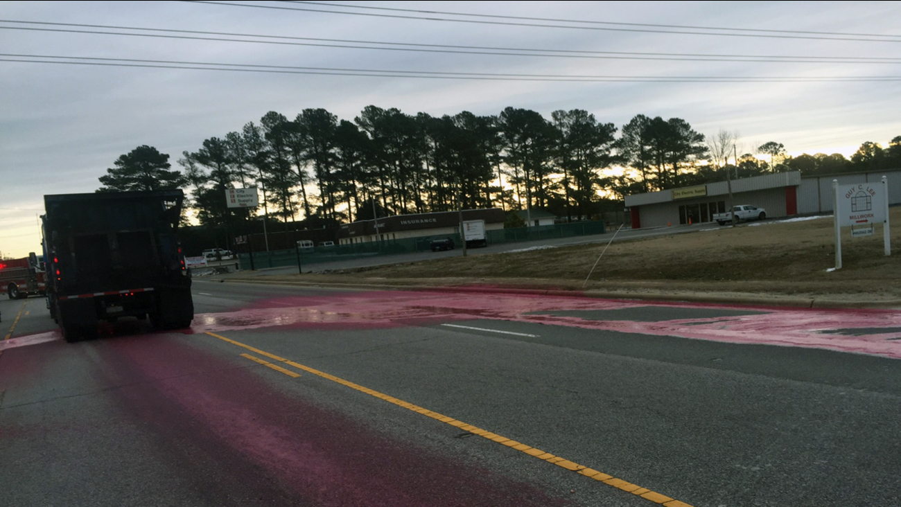 A tanker truck leaked restaurant grease across Highway 301 Saturday morning.