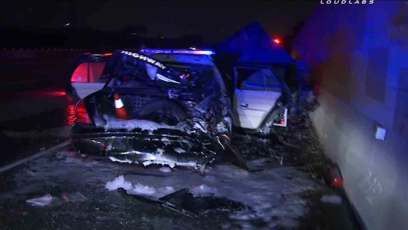 A California Highway Patrol vehicle was struck in a hit-and-run collision on the eastbound 10 Freeway, just east of Peck Road, in El Monte Saturday, Feb. 21, 2015.
