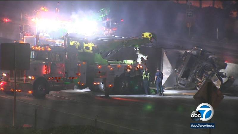 1 hospitalized after semi crash on EB 60 Fwy  in Avocado Heights