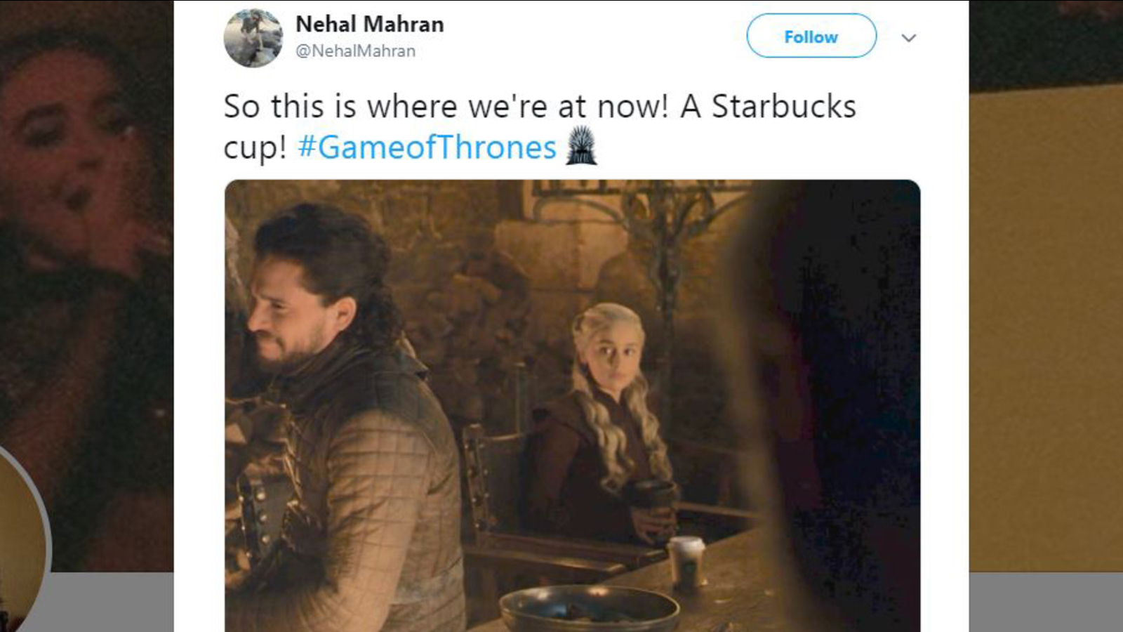 'Game of Thrones' fans spot Starbucks cup in scene