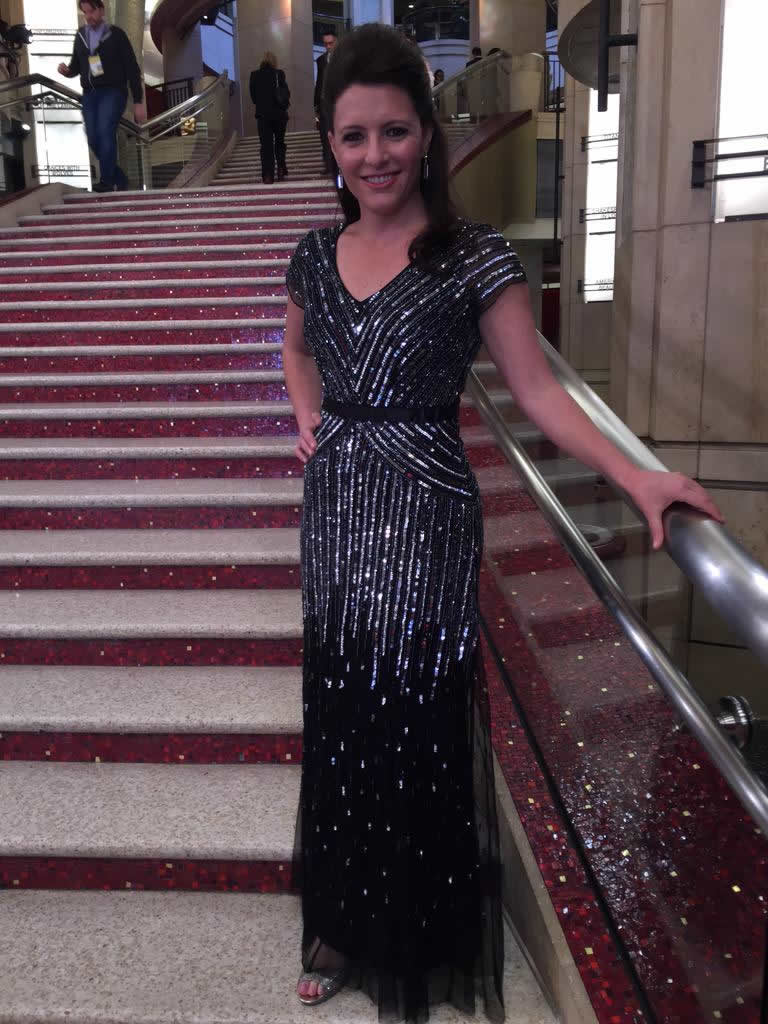 """<div class=""""meta image-caption""""><div class=""""origin-logo origin-image kgo""""><span>KGO</span></div><span class=""""caption-text"""">ABC7 News Reporter Katie Marzullo poses ahead of the 87th Oscars in Hollywood, Calif. on Feb. 22, 2015. (KGO-TV/Katie Marzullo)</span></div>"""