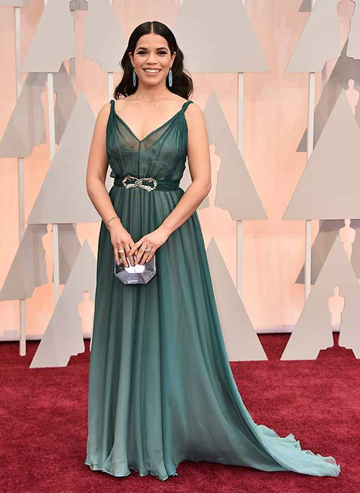"<div class=""meta image-caption""><div class=""origin-logo origin-image none""><span>none</span></div><span class=""caption-text"">America Ferrera arrives on the red carpet for the 2015 Oscars. (Photo/Jordan Strauss)</span></div>"