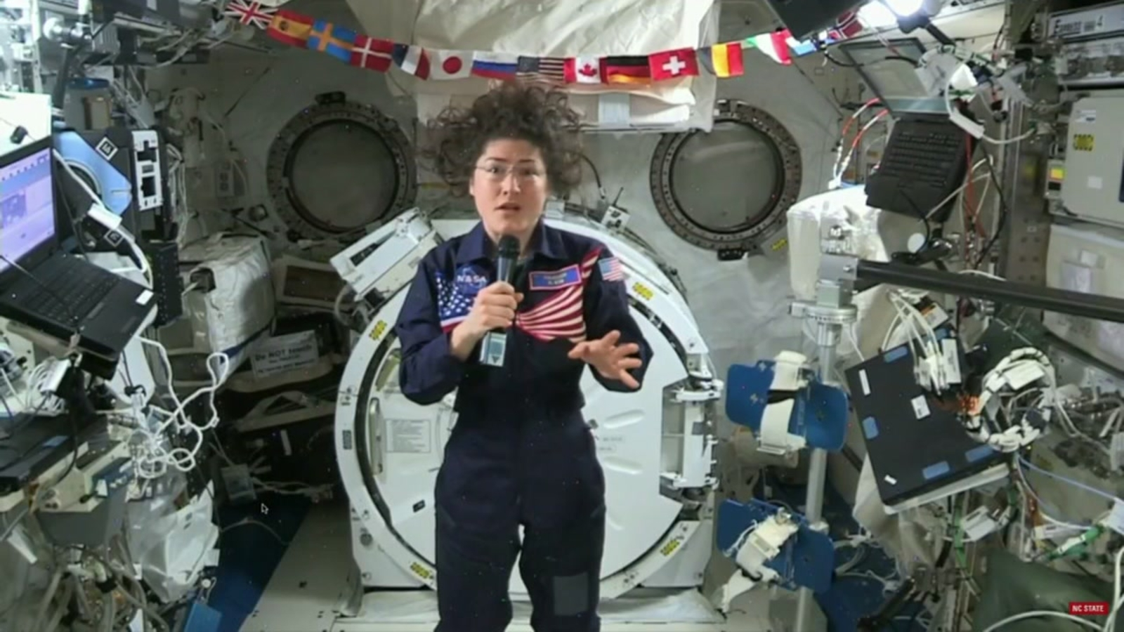 NASA astronaut speaks to NC State grads from outer space