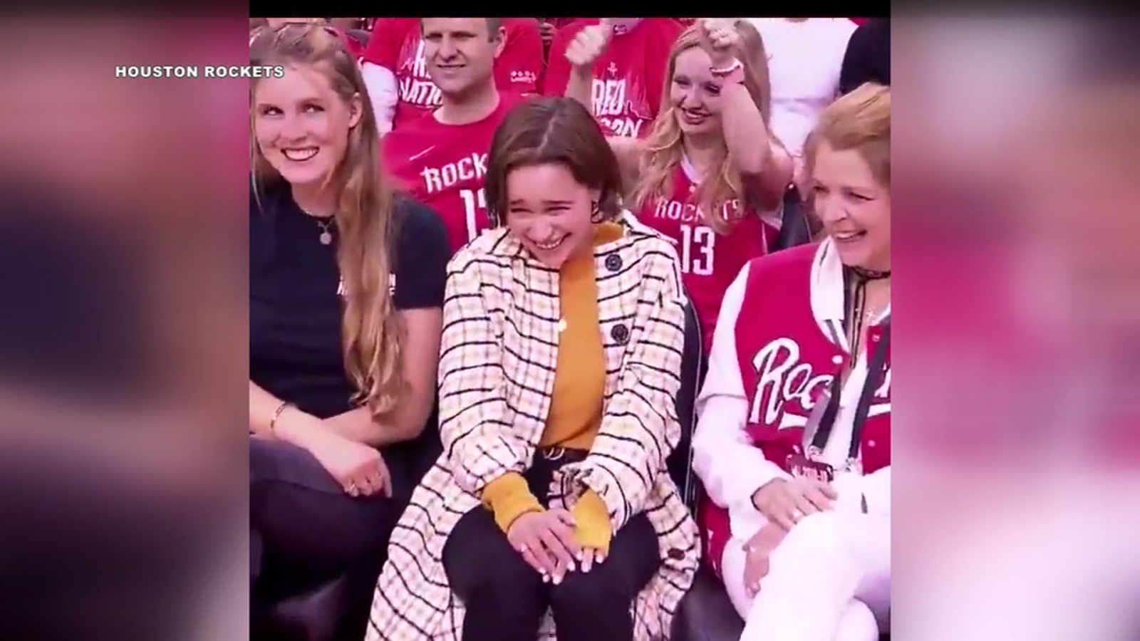 Emilia Clarke Attends First Ever Basketball Game At Toyota