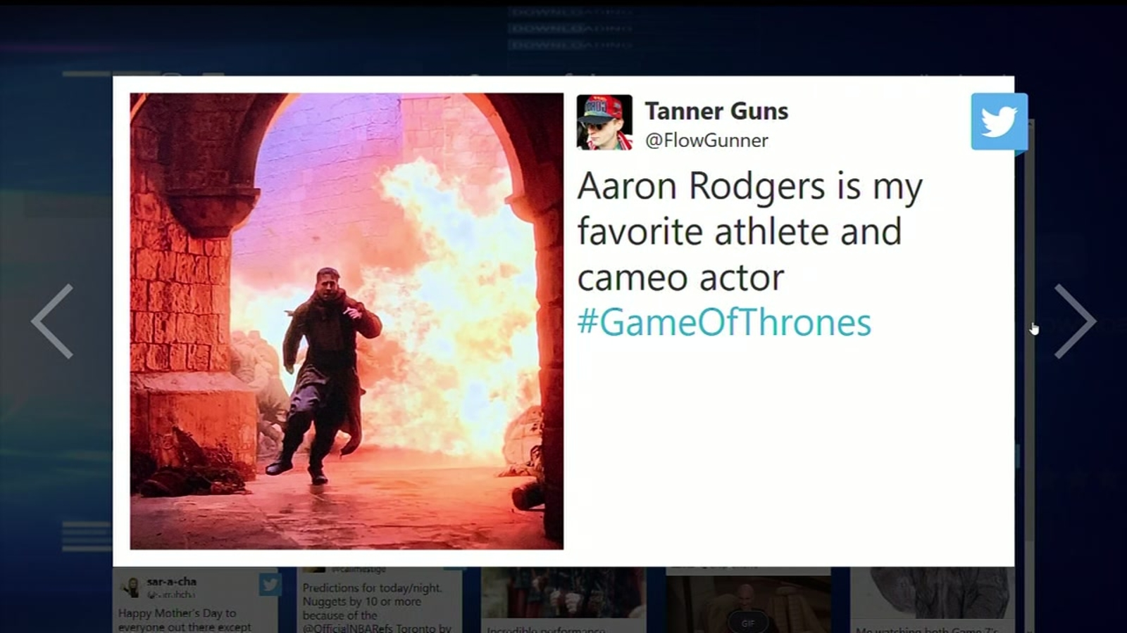 Game Of Thrones Aaron Rodgers Makes Brief Cameo In Penultimate Episode Abc7 San Francisco