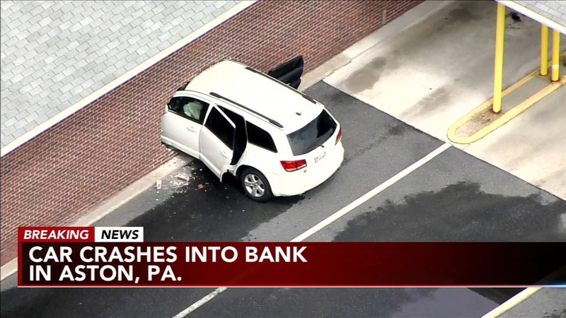 Car crashes into bank in Aston, Pa
