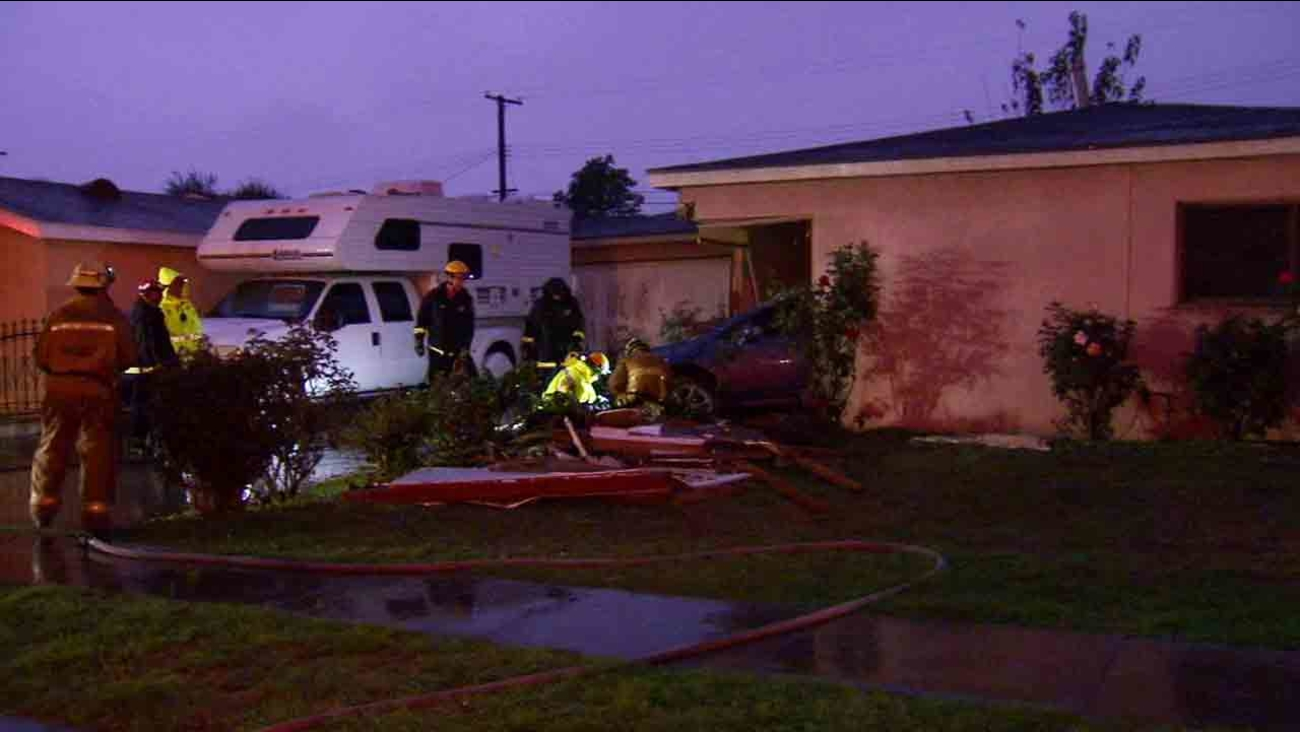 A vehicle crashed into a house in the 11200 block of Michael Hunt Drive in South El Monte Sunday, Feb. 22, 2015.