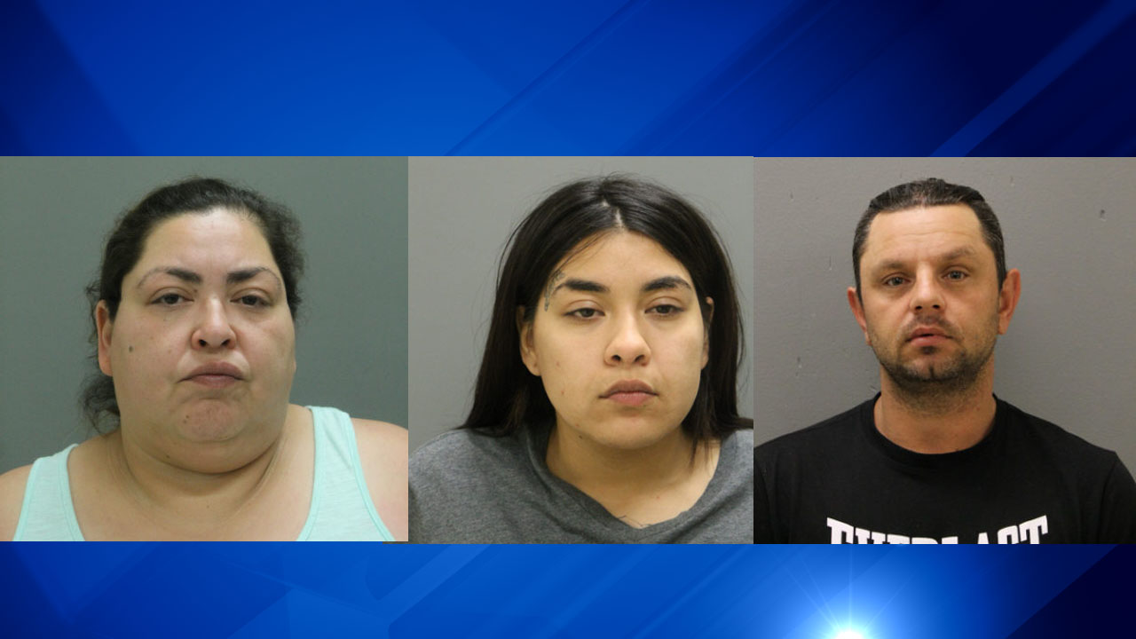 Clarisa Figueroa (left), 46, Desiree Figueroa, 24, and Piotr Bobak, 40