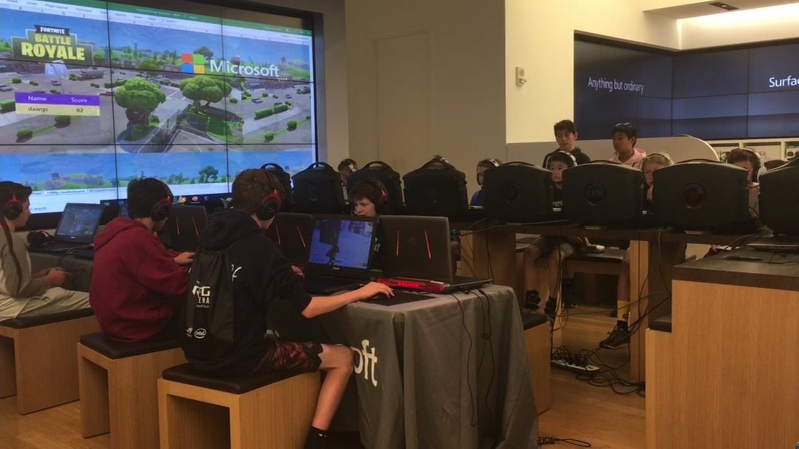 Fortnite Battle Royale against cancer at Palo Alto mall