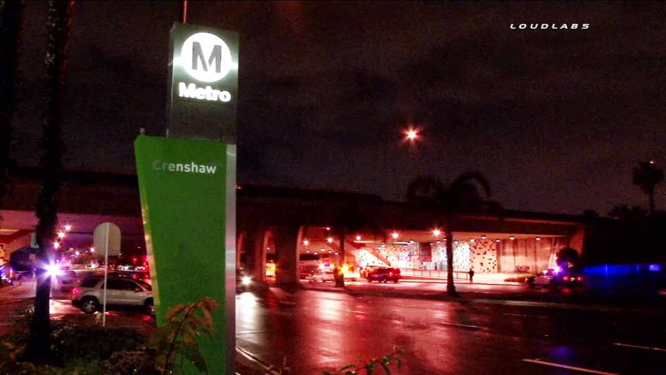 A pedestrian was fatally struck by a Metro Green Line train near the Crenshaw Station in Hawthorne on Sunday, Feb. 22, 2015.