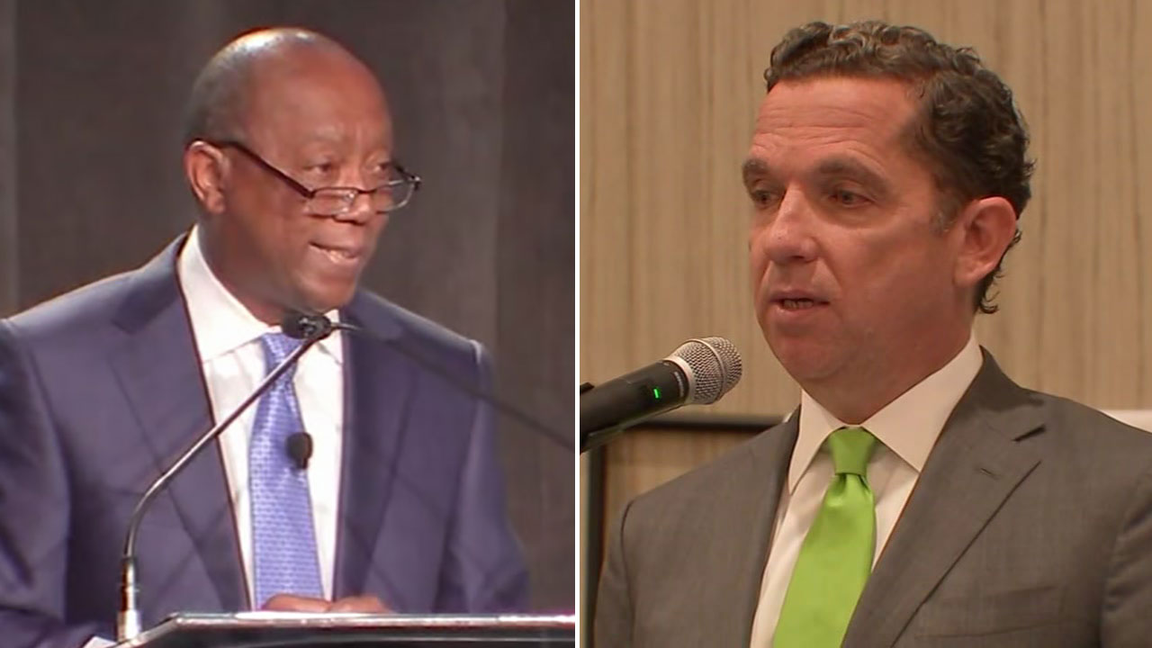 Houston mayor's State of the City and rival's event held in same building