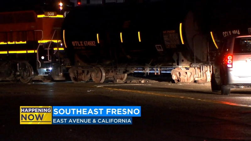 Train derails in Southeast Fresno, road closed for investigation