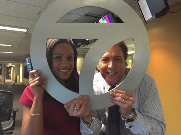 """<div class=""""meta image-caption""""><div class=""""origin-logo origin-image none""""><span>none</span></div><span class=""""caption-text"""">ABC7 News Anchors Dan Ashley and Ama Daetz pose for a photo to show off their Super Bowl 50 spirit. (KGO-TV/ABC7 News)</span></div>"""