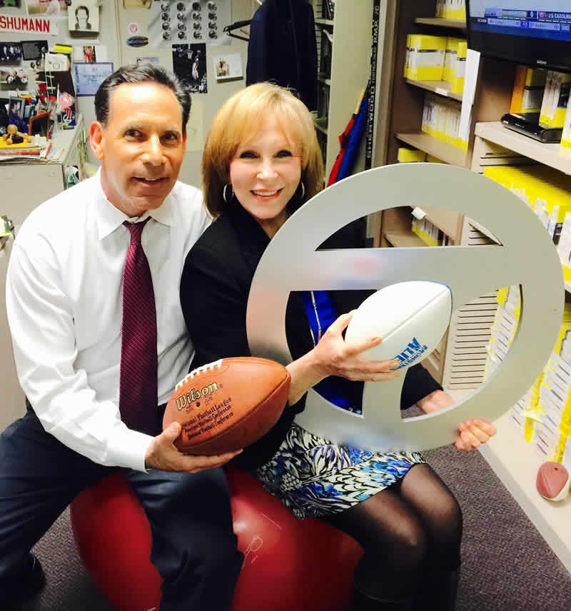 "<div class=""meta image-caption""><div class=""origin-logo origin-image none""><span>none</span></div><span class=""caption-text"">ABC7 News Anchors Larry Beil and Cheryl Jennings pose for a photo to show off their Super Bowl 50 spirit. (KGO-TV/ABC7 News)</span></div>"