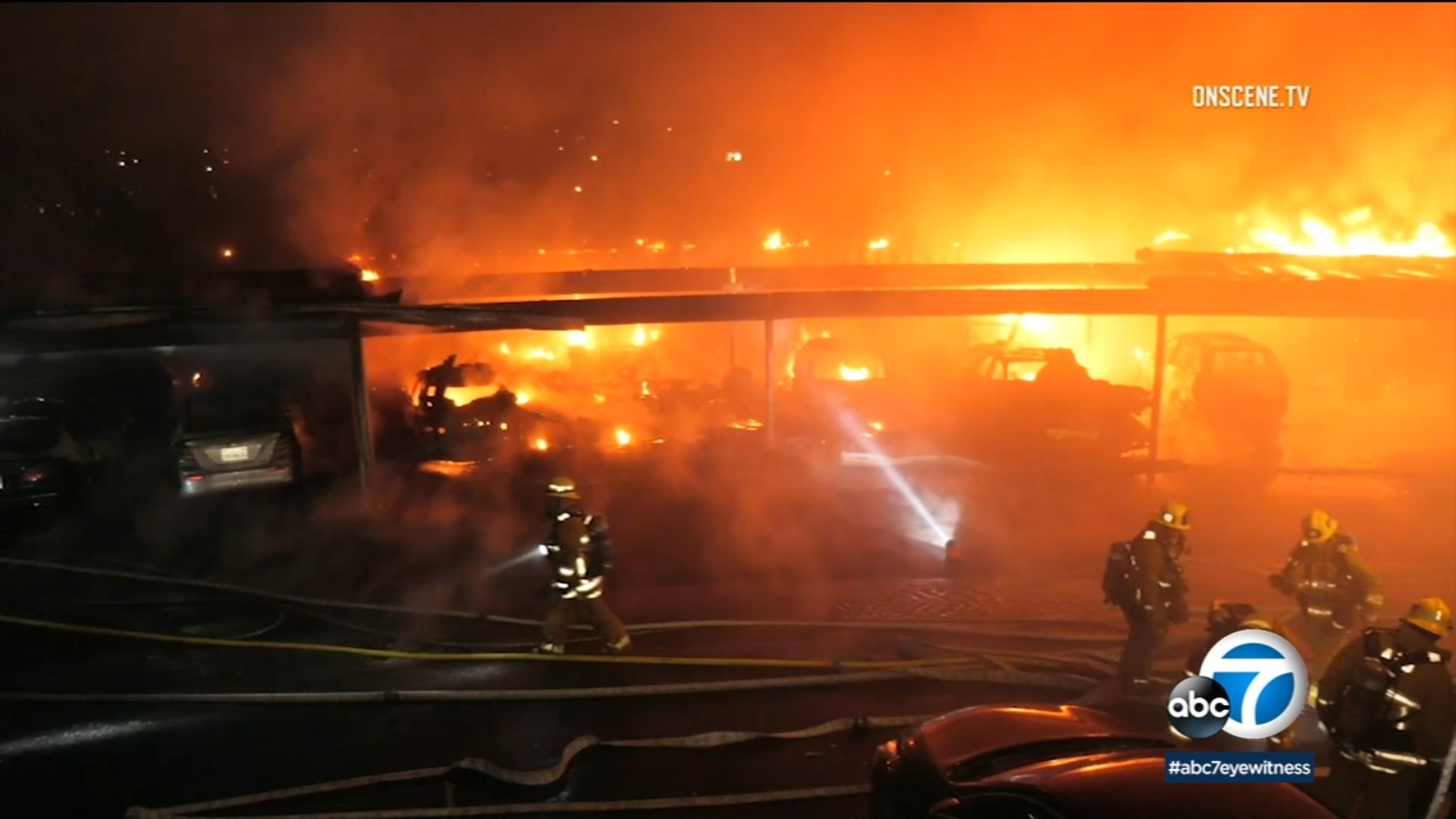VIDEO: Multiple cars destroyed in carport inferno in Highland Park; fire deemed suspicious