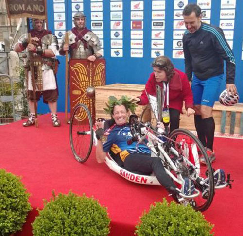 "<div class=""meta image-caption""><div class=""origin-logo origin-image none""><span>none</span></div><span class=""caption-text"">Sanden is another step closer to her goal after finishing a marathon in Rome, Italy in Europe.</span></div>"