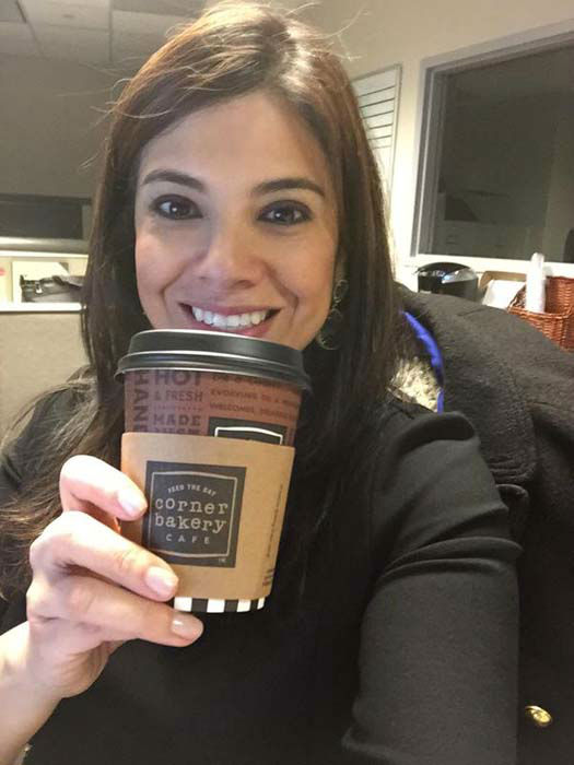 """<div class=""""meta image-caption""""><div class=""""origin-logo origin-image none""""><span>none</span></div><span class=""""caption-text"""">Patricia Lopez picked up her freebie from the Corner Bakery!</span></div>"""