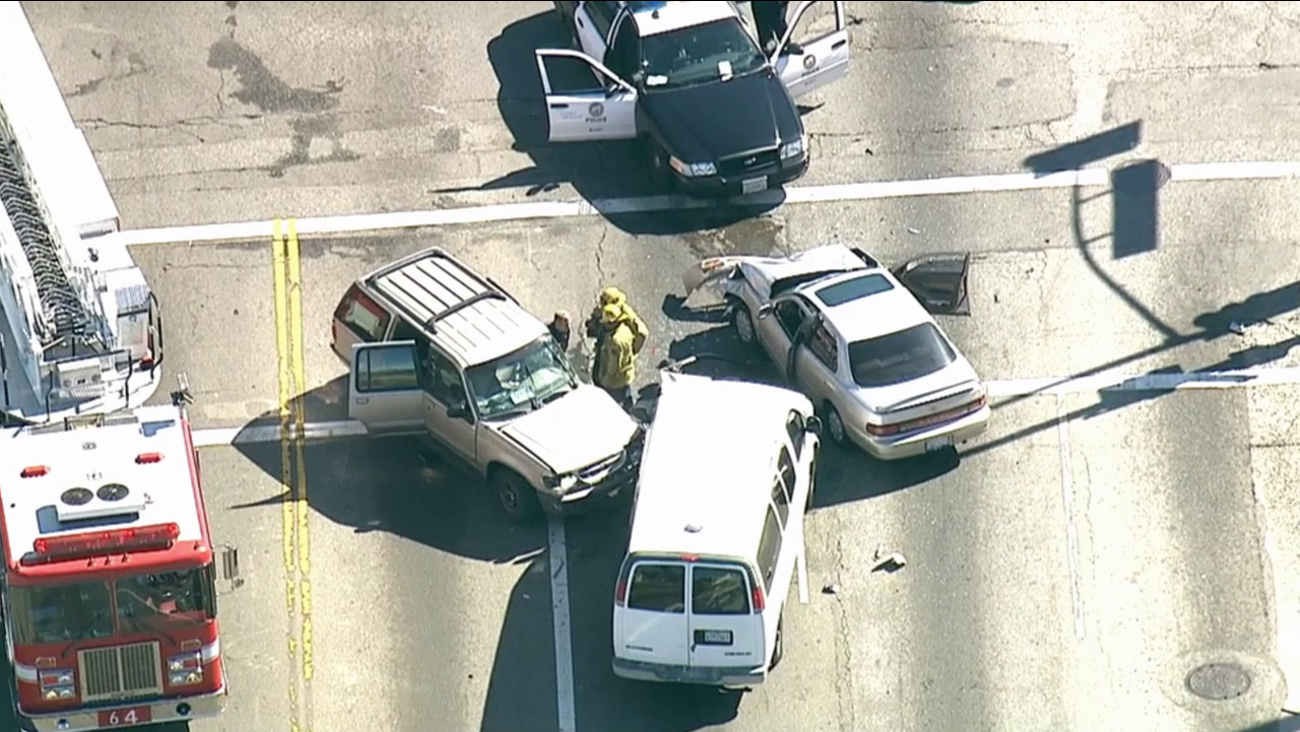Los Angeles police pursued a vehicle that ultimately crashed in South Los Angeles on Tuesday, Feb. 24, 2015.