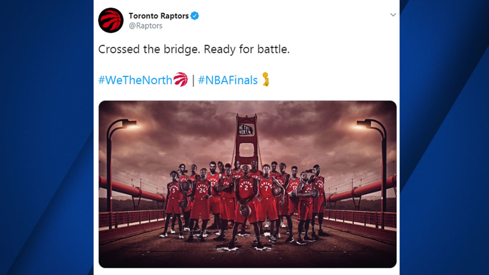 We The Lost? Toronto Raptors post pregame photo on wrong bridge