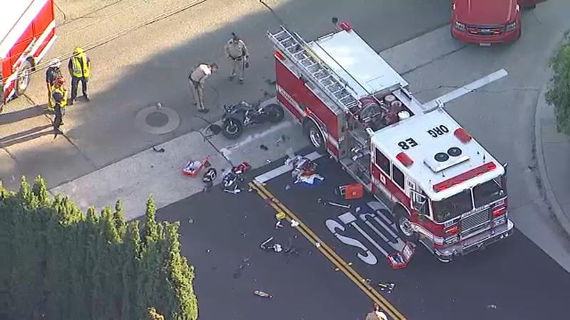 Orange: Motorcyclist dies after crash with fire truck