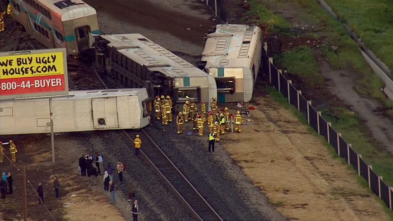 A Metrolink train struck two vehicles in Oxnard, causing four train cars to derail on Tuesday, Feb. 24, 2015.