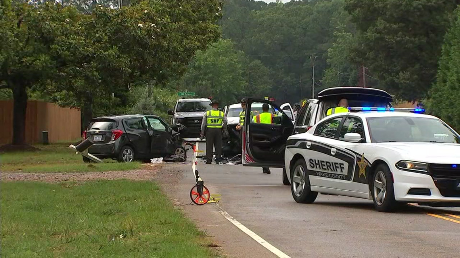 Head-on collision closes road in Raleigh