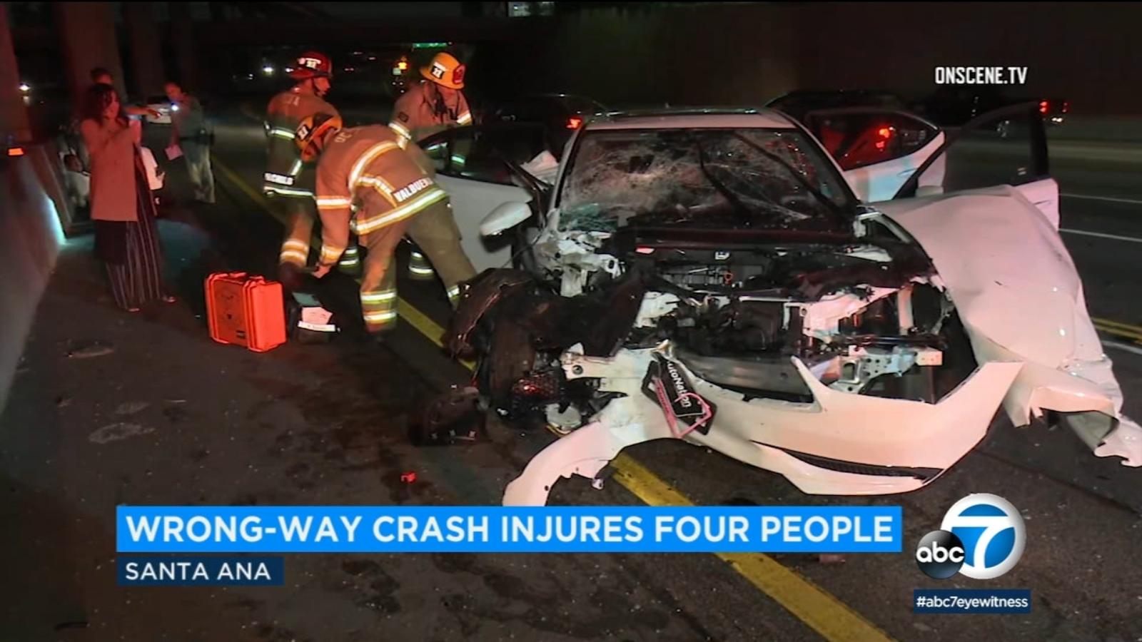 DUI suspect arrested after wrong-way crash leaves 4 injured in OC