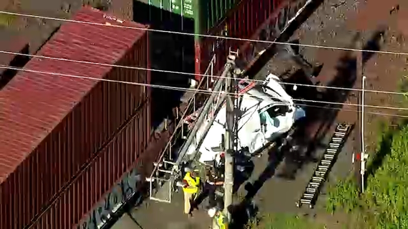 Freight train smashes van at crossing in South Plainfield