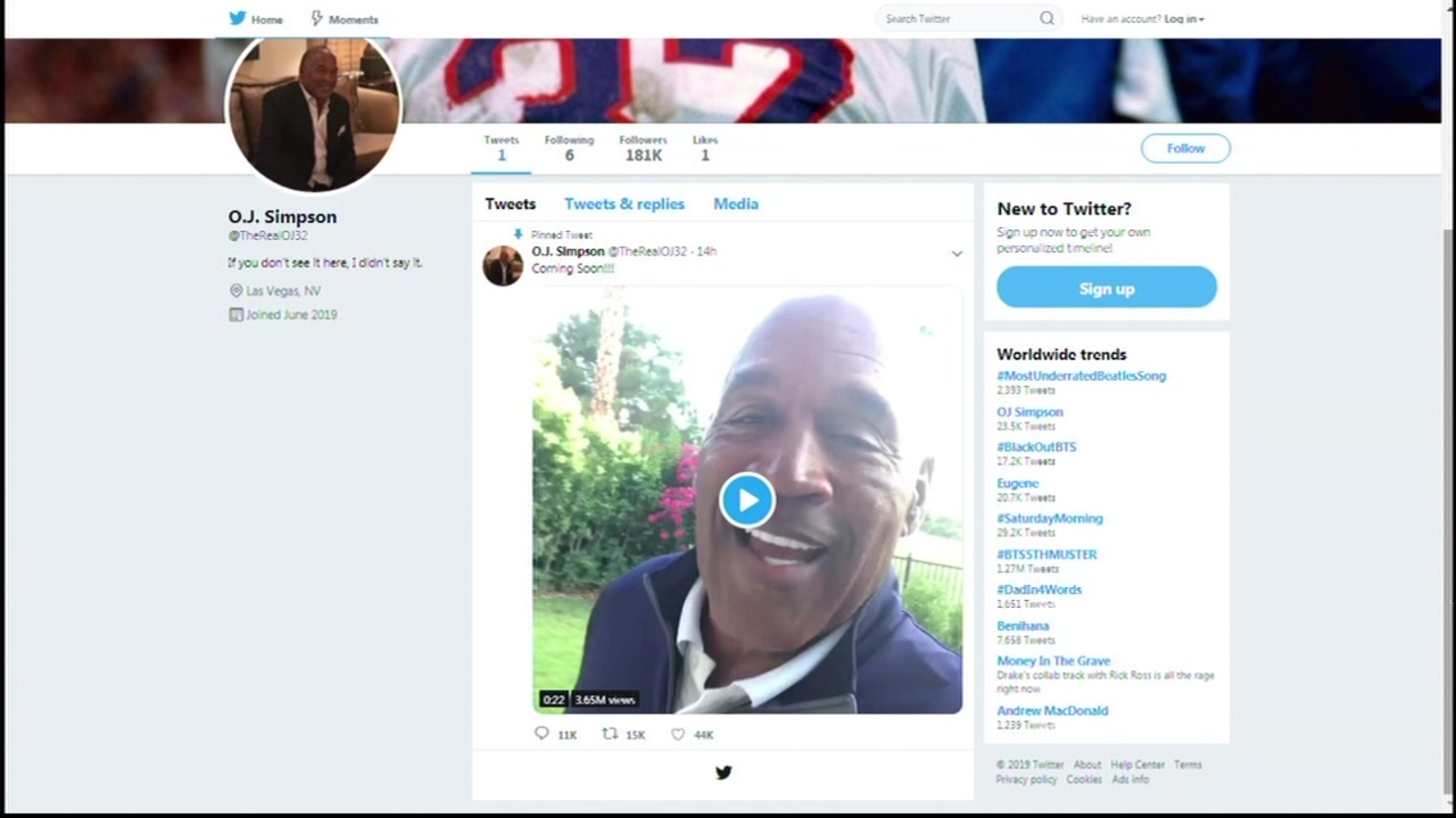 O J  Simpson will use Twitter account to 'correct what people say about him'