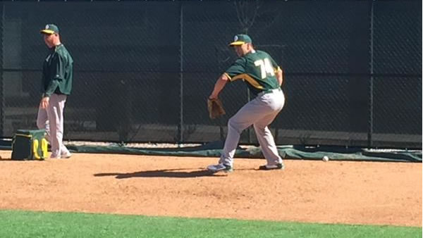 "<div class=""meta image-caption""><div class=""origin-logo origin-image none""><span>none</span></div><span class=""caption-text"">A's pitcher Patrick Venditte throws from both sides on Wednesday, Feb. 25, 2015. (ABC7 News/Mike Shumann)</span></div>"
